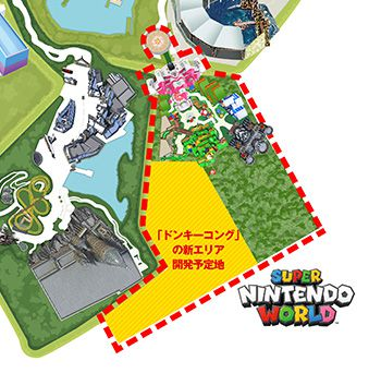 Super Nintendo World map with the projected expansion of Donkey Kong highlighted in yellow.