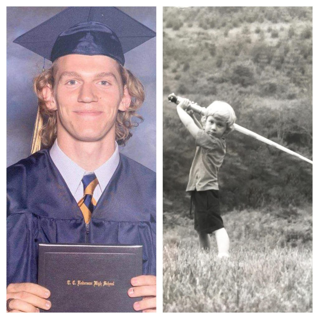 Riley Howell is seen in a graduation photo and as a child playing with a toy light saber. Howell was killed when he confronted a gunman at UNC Charlotte in April. He was a Star Wars fan and his name was re-imagined by Lucasfilm as a character in the Star Wars universe in a visual guide that accompanies the latest movie. Credit Howell family via Matthew Westmoreland