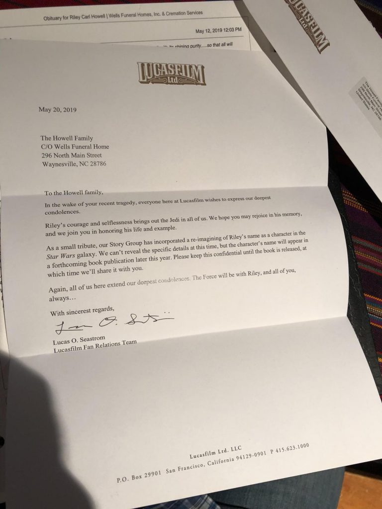 Lucasfilm sent this letter to the family of Riley Howell, who died confronting a gunman at UNC Charlotte. Howell was a big Star Wars fan and his name has been reworked into the Star Wars universe as a Jedi master. Credit Matthew Westmoreland