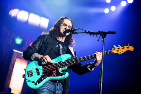 Geddy Lee of Rush performs during the final show of the R40 Tour at The Forum, in Los Angeles Rush in Concert - , Los Angeles, USA - 1 Aug 2015.   Credit: Photo by Rich Fury/Invision/AP/REX/Shutterstock.