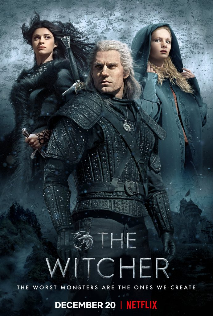 "A cool poster of the cast of ""The Witcher"", complete with conveniently timed wind!"