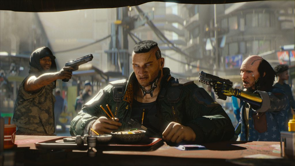 Cyberpunk protagonist has to finish his ramen first before he's ready to go.