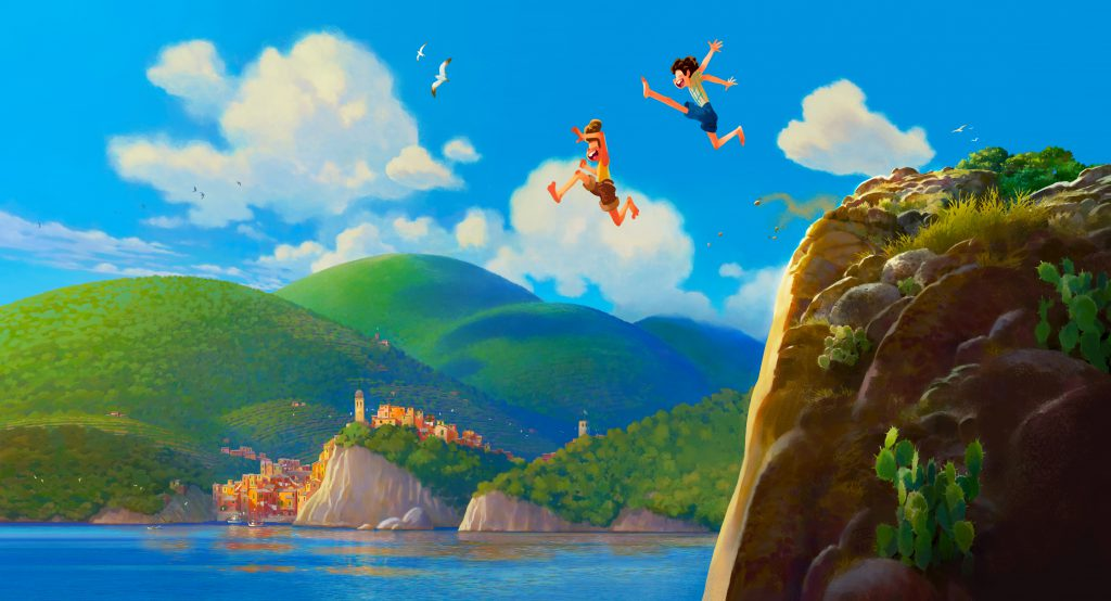 Two boys jumping off a cliff in Disney/Pixar's Luca