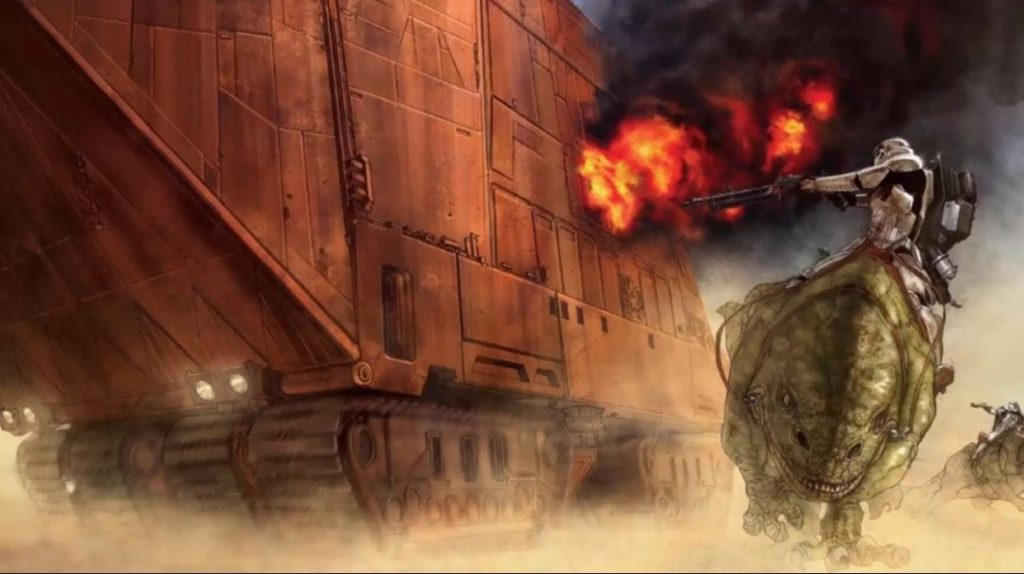 Fanart of stormtroopers riding dewbacks as they engage a sandcrawler with E-11 blaster rifles.