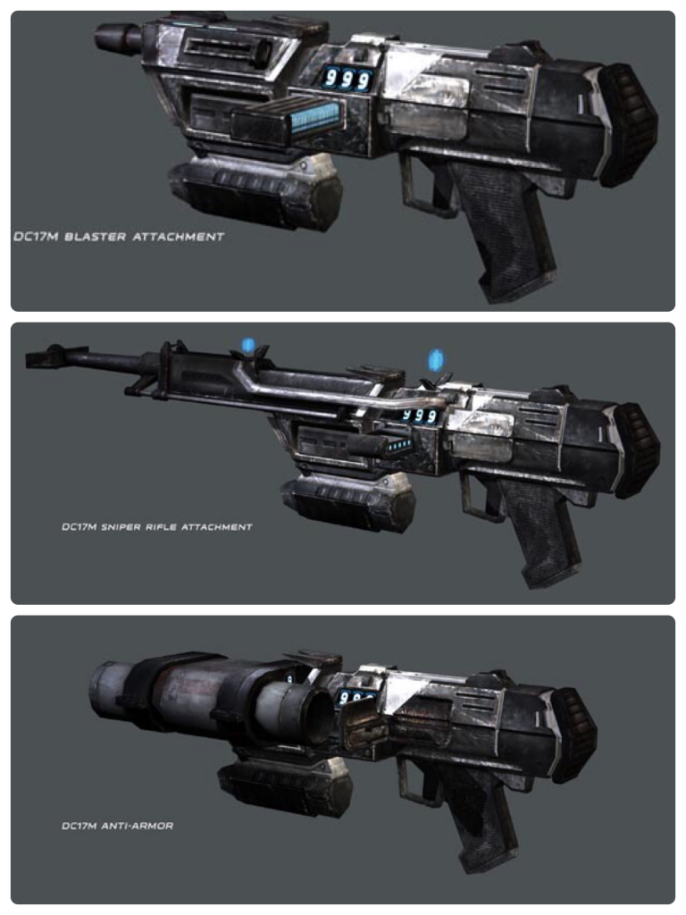 The 3 phases of the DC-17m blaster rifle.
