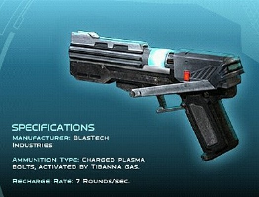 A DC-15s blaster pistol with stats.