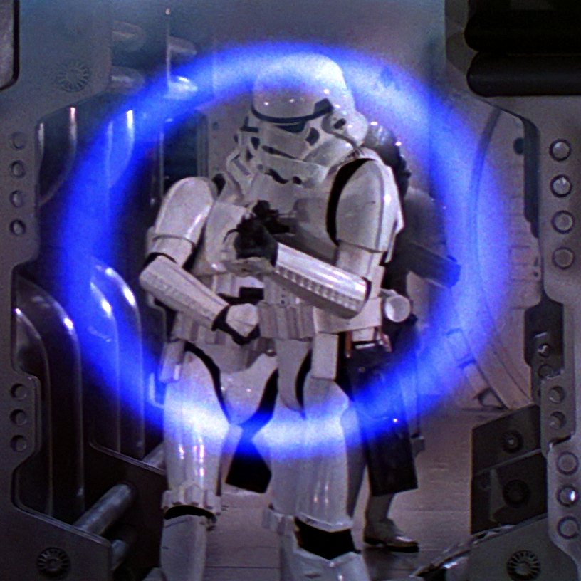 A blue energy ring from an E-11 blaster rifle on stun mode.