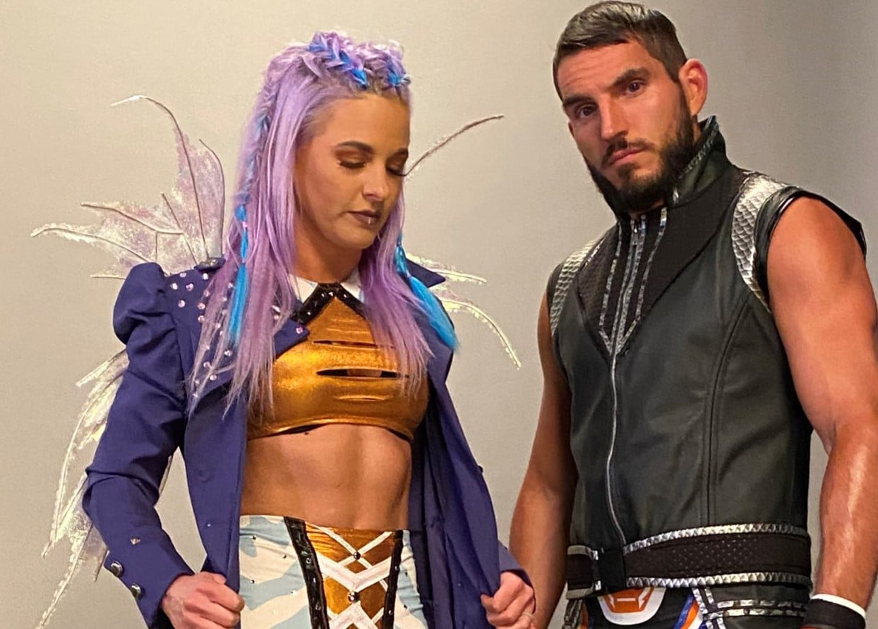 WWE Superstars Candice LeRae and Johnny Gargano Rock Star Wars Inspired Ring Gear