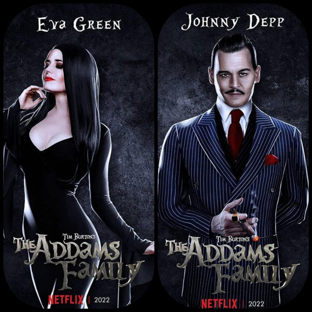 Eva Green and Johnny Depp as Morticia and Gomez Addams respectively.
