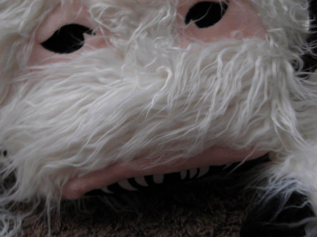 A close up on a Wampa rug's face.