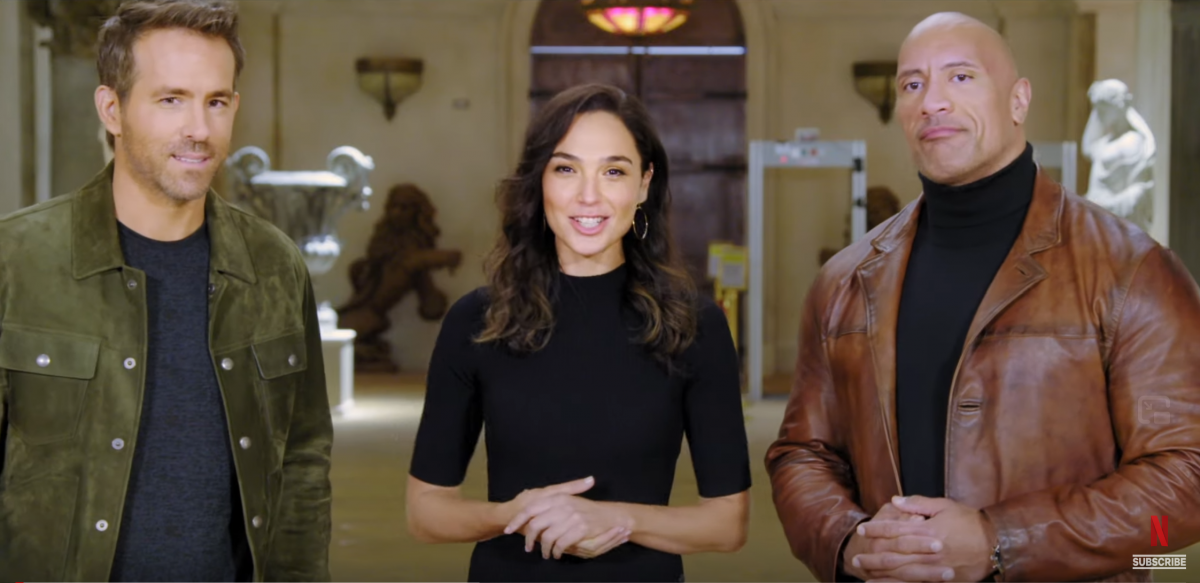 (L-R) Ryan Reynolds, Gal Gadot, Dwayne Johnson for Netflix 2021 film slate