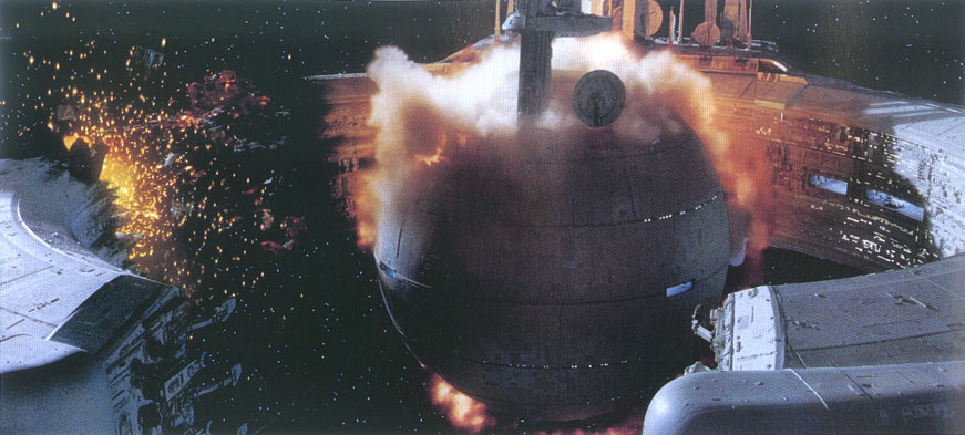 Droid control ship blowing up.
